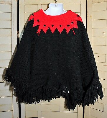 Vintage 70's Girl's Wool Knit Poncho Icelandic Pattern One Size May be Handmade