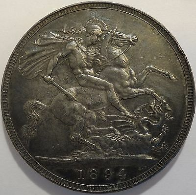 Great Britain Queen Victoria silver crown 1894 high grade with beautiful toning!