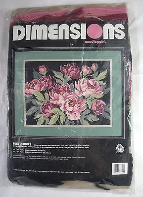 """Dimensions Needlepoint 2405 Pink Peonies 16""""x12"""" 1992"""