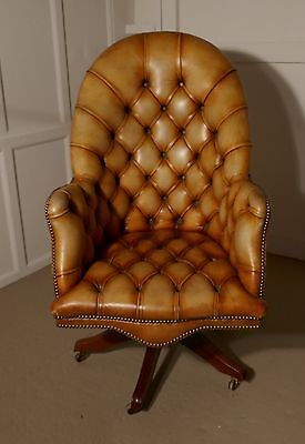 Chesterfield Leather Directors Desk Chair, Office Chair