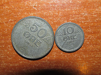 WW2 Norway 1942 1943 coin lot Very Fine nice