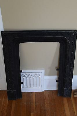 Antique Fancy Cast Iron Fireplace Surround