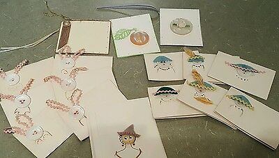16 Vintage Handmade Note Cards Buttons Gift Tags