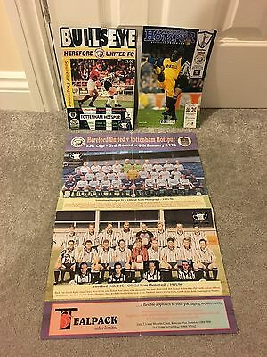 FA CUP 3RD ROUND TOTTENHAM HOTSPUR v HEREFORD UNITED ((SIGNED)) PROGRAMMES,RARE