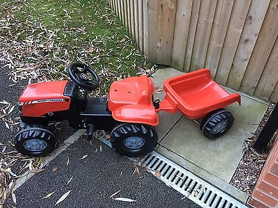 Rolly Toys Massey Ferguson Tractor and Trailer Kids Ride On Red