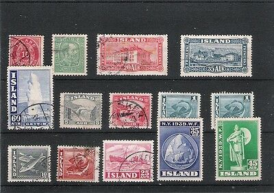 Job Lot 14 Early Good Used Iceland Stamps 1876-1940 High Cat Value