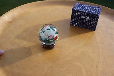 Small Vintage Chinese Hand Painted Glass Globe & Stand