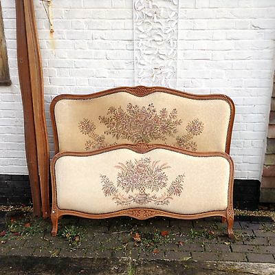 Vintage French upholstered Louis XV style corbeille double bed c1930s...