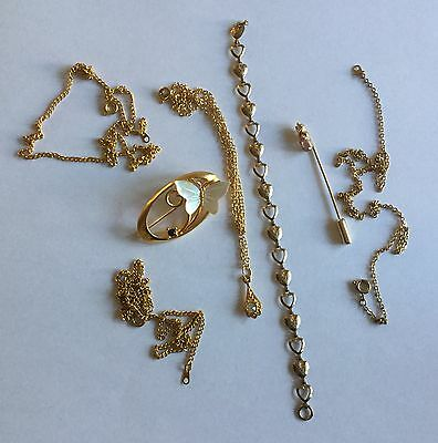 Joblot of Gold Plated Costume Jewellery inc Brooch, Bracelet, Pin & Chains