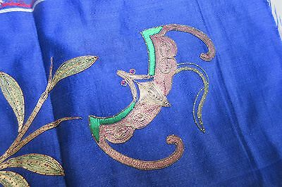 Antique Chinese Silk Panels Embroidery Metallic Thread. Qing