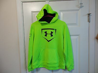 Under Armour Youth Extra-Large Xl Neon Green Hoodie Sweatshirt Fitness Loose Fit