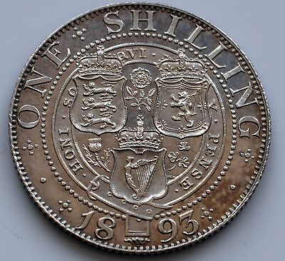 Victoria 1893 Veiled Head Proof Shilling.          (SN)