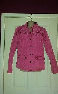 Girls Pink Barbour Style Coat Age 15-16 by Next