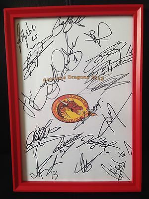 Catalans Dragons Hand Signed A4 Framed Autograph Sheet NEW 2016 Super League