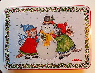 "1987 B Shackman Schmid Kitty Cucumber Snowman Christmas Winter Cookie Tin 7"" Vtg"