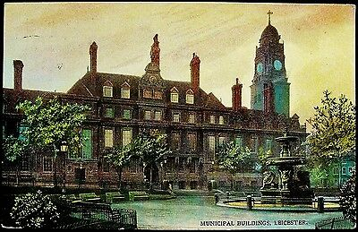 Municipal Buildings, Leicester. 1905 Postally Used Postcard.