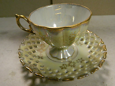 Vintage Relco Mother of Pearl Finish Tea Cup & Reticulated Saucer Excellent