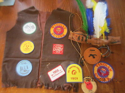 Vintage Y YMCA Indian Guides LOT vest PATCHES necklace FEATHER HEADDRESS +