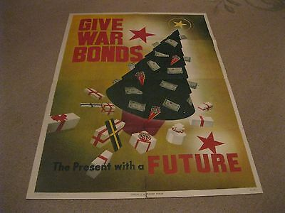 """Give War Bonds, the Presents With A Future"""" full color Christmas Poster WWII"""