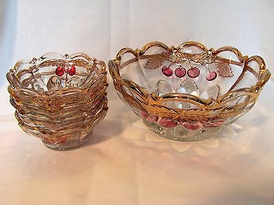 NORTHWOOD Cherry & Cable 1905-1907 EAPG LARGE 9 INCH FRUIT BOWL & Berry Bowls