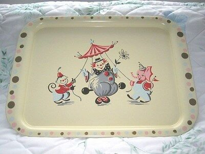 Rare Limited Vintage Nashco Circus Clowns Red Blue Cream Serving Tole Tray