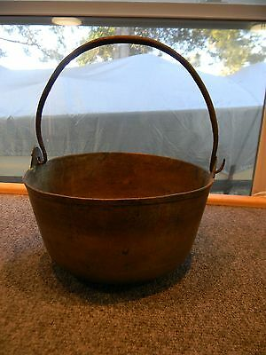 ~Awesome~ Antique Brass Jelly Kettle Cauldron Hand Forged Iron Handle