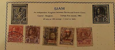 Thailand Siam Stamps Old Album Page South Russia Overprinted