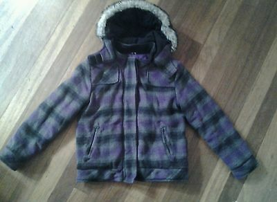 girls 11-12 years F&F purple and grey checked hooded coat