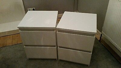 Gloss White Bedside Cabinets x2