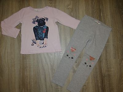 Girls H&M set/ DOG longsleeved top and CAT HEART leggings/outfit age 2-3-4 years