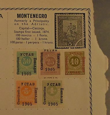Early Montenegro Stamps Old Album Page Overprinted 1905 Constitution YCTAB