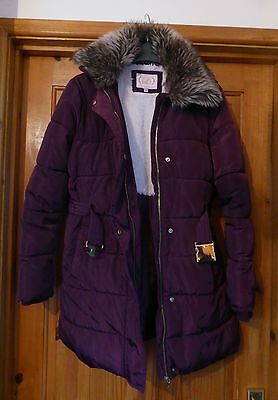 M&S girls winter coat aged 13-14 years burgundy new
