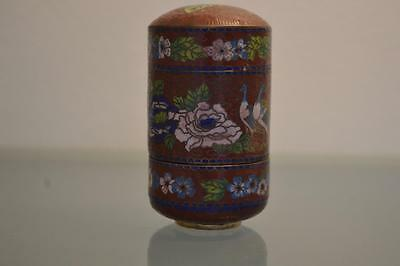 Antique Chinese Collectors Cloisonne Stacking Storage Box