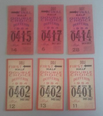 6 Dufferin, Toronto 1954 Double Choice Tote Tickets