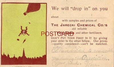 """WE WILL """"DROP IN"""" WITH SAMPLES, THE JARECKI CHEMICAL CO.'s FISH GUANO 1907"""