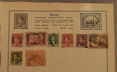 Iraq Stamps Old Album Page Occupation