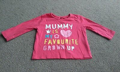 Cute Baby Girls Pink Mummy Is My Favourite Grown Up Long Sleeve Top 3-6 Months