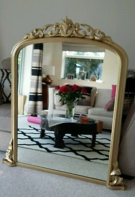 Large Victorian Antique Vintage Gold painted Overmantle Mirror