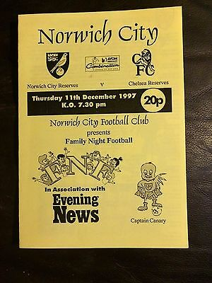 NORWICH CITY RESERVES v CHELSEA  RES 1997-98 FOOTBALL COMBINATION