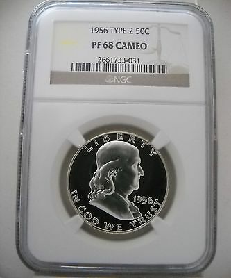 1956 Ngc Pf68 Cam Proof Franklin Half Brilliant Mirrors & Excellent Cameo's!