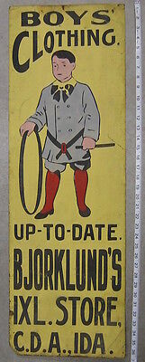 ITHACA SIGN WORKS TIN SIGN COEUR d'ALENE IDAHO BOYS CLOTHING UP TO DATE c1910