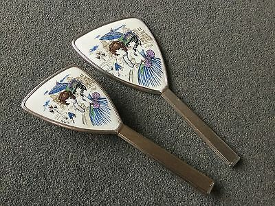 vintage Mirror and brush set dressing table set - 1960s 1970s