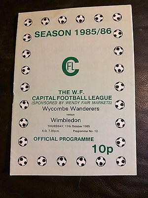 WYCOMBE WANDERERS RESERVES v WIMBLEDON RES 1985-86  CAPITAL LEAGUE