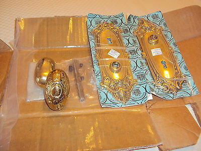 "Victorian Antique Brass Oval Doornob Set, ""Renovator's Old Mill "" 1993"