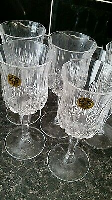 Set of 5 24% crystal glasses new RCR