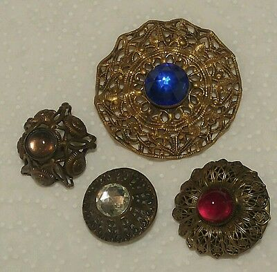 lot of 4 antique jewelled buttons: metal & glass