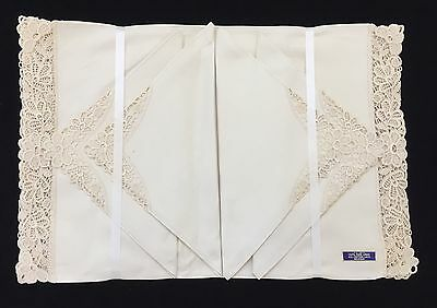 NEW Set Of 4 100% Pure Linen Placemats & Napkins, Belgium, Cotton Lace (RF517)
