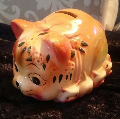 Rare vintage Chinese? Cat with kittens Painted Pottery Money Box kitsch