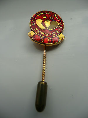 Blood Transfusion Service Vintage Silver Gilt Pin Badge:50  Donations