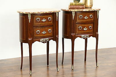 Pair French Marble Top Nightstands or End Tables